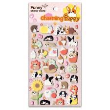 CUTE CHARMING PUPPY STICKERS Dog Puffy Raised Vinyl Sticker Sheet Craft Kawaii