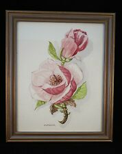 Original still life watercolour of pink flowers by J. Lardner, framed