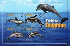 Les dauphins des Caraïbes Vie Marine STAMP SHEET (2010 St Kitts)