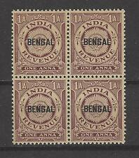INDIA, BRITISH, BENGAL, MNH REVENUE, 1 ANNA,  Block of 4