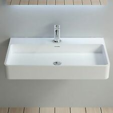 Wall Hung Solid Surface Stone Modern Mounted Bathroom Sink 32 x 18 - DW-207