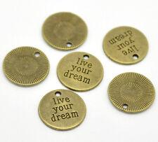 """5x """"live your dream"""" charm Anhänger 20mm bronze Neu für Schmuck Kette Zinklegier"""