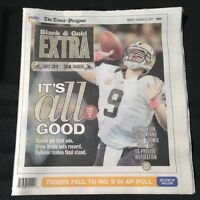 NEW ORLEANS SAINTS DREW BREES TIMES PICAYUNE NEWSPAPER 10-8-2012 UNITAS RECORD !