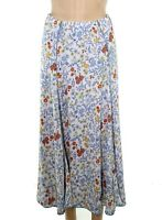 Multiples Womens Skirts Blue Size XL Reversible Floral Print Straight $62 494