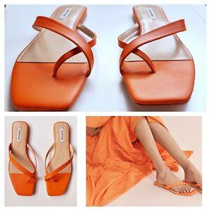 "New COUNTRY ROAD SUMMER SANDALS - 41 42 EU, Women's Orange ""Mango"" Leather Thong"