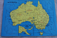 Collectable Vintage Retro Cardboard Jigsaw Puzzle Yellow Blue Australia PNG Map