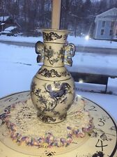 """VTG Chinese Vase Handles Blue White Flowers ROOSTER Birds Age ? CRAZING 14"""" Tall"""