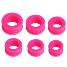 Ear Tunnels 10mm/00 Gauge Body Jewele Pair-Flexi Pink Hot Double Flare Silicone