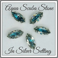 Scuba Aqua & Silver Glass Stone Setting ~ 5 Pack ~ Gypsy Bling ~ Free Shipping
