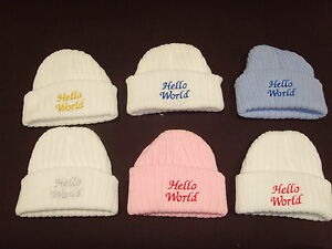 Baby Knitted Wool Embroidered Personalised Hat With Saying Hello World