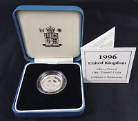 Royal Mint 1996 United Kingdom Silver Proof £1 Coin + Case + COA