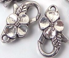 25x14mm Large Silver Pewter Flower Lobster Claw Clasps (5) ~ Lead-Free