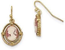 1928 Jewelry - Gold-tone Open Oval Acrylic Cameo Dangle Earrings