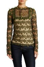 Romeo & Juliet Couture Mock Neck Crochet Lace Blouse in Olive Size L NWT
