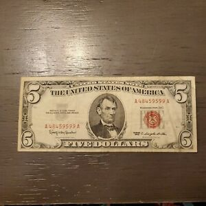 Unoted States of America 5 Dollar Bill 1963 Red Seal