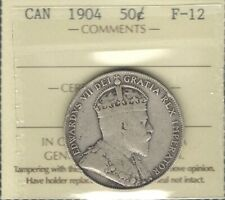 1904 Fifty Cents ICCS F-12 RARE Date LOW Mintage KEY King Edward VII Canada 50¢