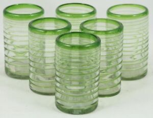 Mexican Lite Green Spiral Tumblers/Glasses Set of 6 Bar/Kitchen Ware 16 oz