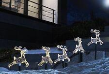 Set of 5 Outdoor Christmas LED Decoration Jumping Reindeer Garden Stick Lights
