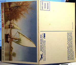 TWA, Advertising, DOUBLE MENU Post Card SAILBOAT ON THE NILE, EGYPT