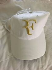 ** RARE Roger Federer Nike White and Gold 5 Trophy Wimbledon Cap Hat RF **