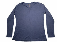 NWOT Natural Reflections Large Blue V-Neck Long Sleeve Womens Shirt Top Casual