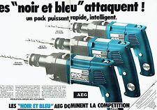 PUBLICITE ADVERTISING 027  1980   AEG  (2p)  les noirs & bleus  powermatic perce