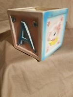 Vintage Baby Planter, Block with Pink Bear and Elephant.  The letter A and B