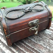Cowboy Hobbling Theme Wooden Chest - Small Trunk Treasure Box - Vintage Look