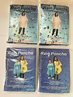Family Pack (2 Adult 2 Child) Clear Disposable Waterproof Hooded Rain Poncho Mac