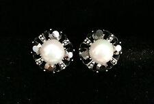 Fashion Charming round Crystal Pearl Stud Earrings (grey rhinestone) wedding