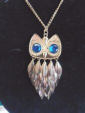 """JewelryNecklace Owl Pendant 1.5w x 3"""" tall Stylish Gold Plated Leaves 27"""""""" Chain"""
