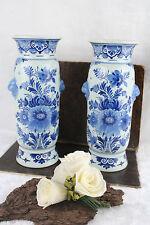 Antique PAIR DELFT pottery  de porceleyne fles Marked Vases Lion heads rare 1919