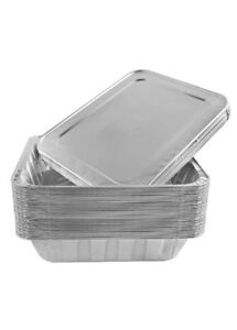 """100 Aluminum Foil Half Size Gastronorm Pans With Lids Perfect for Catering 9x13"""""""