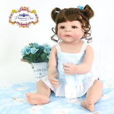 2019 Cute 22'' Reborn Toddler Baby Girl Dolls Full Body Silicone Vinyl Kids Bath
