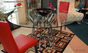 """Olivia dining table with 59"""" round clear glass top and polished stainless steel"""
