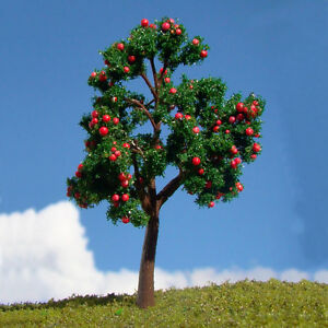 10pcs O Scale Pagoda Model Trees with Red Fruits 1:50 Railroad Landscape 11CM