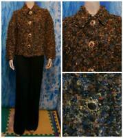 ST JOHN Collection Shag Brown Blue Jacket XL XLL 18 20 Blazer Button Multicolor