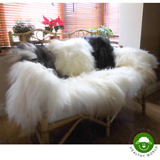 LARGE!! Beautiful Genuine ICELANDIC SHEEPSKIN RUGS, White, 120-140cm!