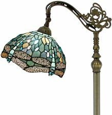 Tiffany Style Reading Floor Lamp Sea Blue Stained Glass Crystal Bead Dragonfly