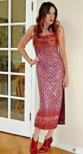 RARE Rozae Nichols BURGUNDY Pink SEQUIN bodycon MIDI party Dress