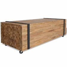 vidaXL Teca Mesa de Centro 110x45x35 cm Mesilla Mueble Auxiliar Mesita Café
