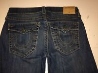 Mens TRUE RELIGION Jeans Ricky Relaxed Straight 31 x 32 Flap Pockets