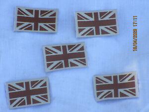 5 x Union Jack Aufnäher, klein, original,desert ,British Army, 25x40mm