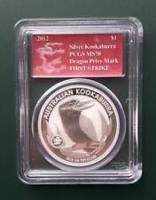 2012 Australia Kookaburra 1 oz 999 Silver coin PCGS MS 70 Dragon Privy F Strike