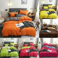 Solid AB Printing Bedding Sets Adult Bedclothes Duvet Cover Bed Sheet Mutilcolor