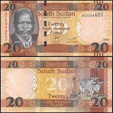 South Sudan 20 Pounds, 2015, P-NEW, UNC