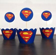 12x Superman Cupcake Topper + Wrapper. Party Cake Supplies Lolly Loot Bags Flag