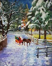 YARY DLUHOS ORIGINAL ART OIL PAINTING Christmas Winter Snow Horse Sleigh Bells