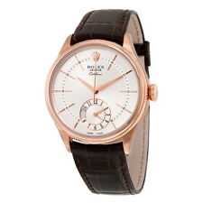 Rolex Cellini Dual Time Silver Dial 18kt Everose Gold Mens Watch 50525SSBRL