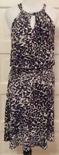 Suzi Chin for Maggie Boutique Sleeveless Ring Neck Dress Size 4 Leopard Print